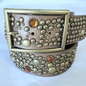 Steve Madden Brown Leather Studded Belt Size L